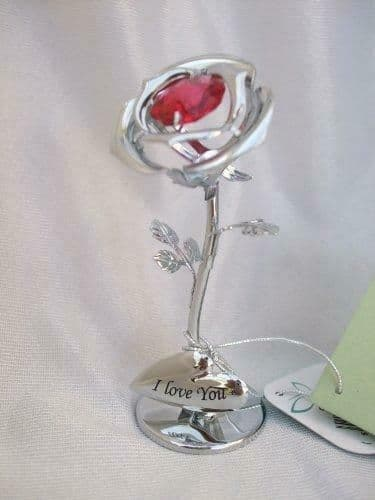 CrystoCraft I Love You Chrome Plated Single Rose with Swarovski Crystals